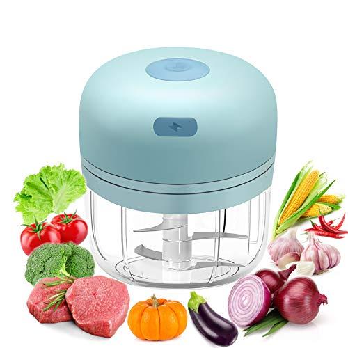 Elektrisch Zerkleinerer Küche 280ML, Afaneep Mini Knoblauchmühle Küche mit 4 scharfen Klingen Küchenmaschine USB-Aufladung Aid Food Processor Chopper für Fleisch, Gemüse, Fleisch, Babynahrung