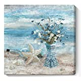 Bathroom Decor Wall Art Blue Beach Picture Ocean Theme Flower Canvas Print Modern Coastal Seascape Painting Framed Seaside Artwork Floral Daisy in Indian Vase for Home Sea Lake Bedroom 14x14inch