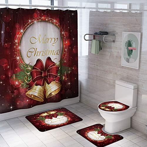 ARTIFUN 4 PCS Weihnachten Badezimmer Dekorationen Toilettensitzbezug Teppich Duschvorhang Sets Weihnachten Weihnachtsmann Elch Schneemann Badezimmer Dekorationssets