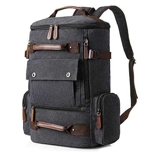 Yousu Canvas Backpack Fashion Travel Backpack School Rucksack Hiking Daypack (Black)