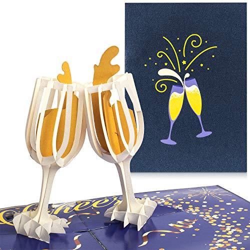 PaperCrush® Pop-Up Karte Champagner - 3D Glückwunschkarte mit Sektglas für div. Anlässe (Geburtstagskarte, Runder Geburtstag, Hochzeitskarte) - Besondere Geschenkkarte für Sie (Frauen, Freundin)