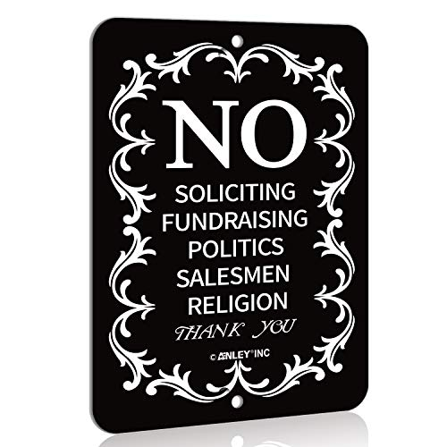ANLEY No Soliciting Sign for Home and Business, Do not Ring the Bell - Modern Design for Indoor and Outdoor Use - 6