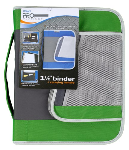 Mead PRO Platinum Heavy-Duty Zipper Binder with Handle, 1.5 Inch Capacity, 11.25 x 13.75 x 2 Inches, Green (72880)