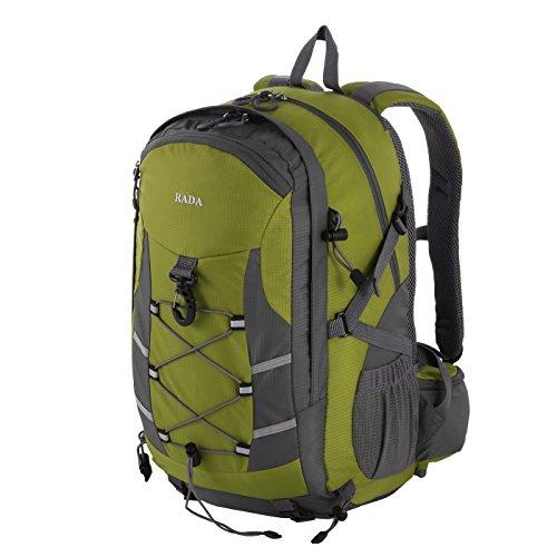 Rada Rucksack RS/12, wasserabweisender Daypack mit 18 Litern Volumen, Rucksack für Damen und Herren, perfekt für Ausflüge, zum Wandern, die Schule oder in der Freizeit (grün/grau)