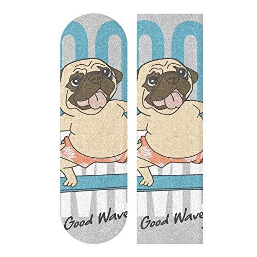 Skateboard-Griffband, 84,6 x 22,9 cm, Motiv: niedlicher Mops, lustige Tiere, Schleifpapier für Rollbrett, Longboard, Griptape, blasenfreies Skate-Tape