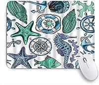 NIESIKKLAマウスパッド 航海タツノオトシゴヒトデ水草サンゴ巻き貝アンカーライフブイコンパスカニ ゲーミング オフィス最適 おしゃれ 防水 耐久性が良い 滑り止めゴム底 ゲーミングなど適用 用ノートブックコンピュータマウスマット