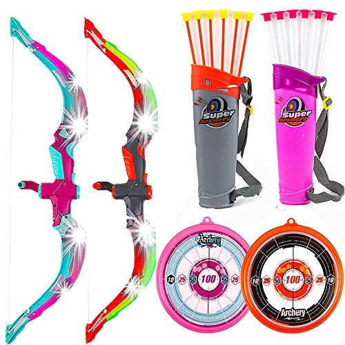 Toysery. Bow and Arrow for Kids, Safe Toys with Flexible Arrows, Durable Toy Guns for Boys, Colorful Big Bow for Outdoor Fun, Kid Toys with Realistic Archery Target – 2 Pack