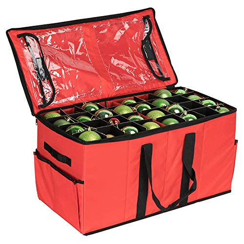 Brobery Christmas Ornament Storage Box Contributes Slots for 128 Holiday Ornaments 3 Inch with Dual Zipper Closure Ornament Storage Container