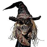 Prevessel Cubierta de cara de miedo de Halloween, espantapájaros de cabeza completa máscara para adultos, espeluznante sombrero, disfraz de Halloween