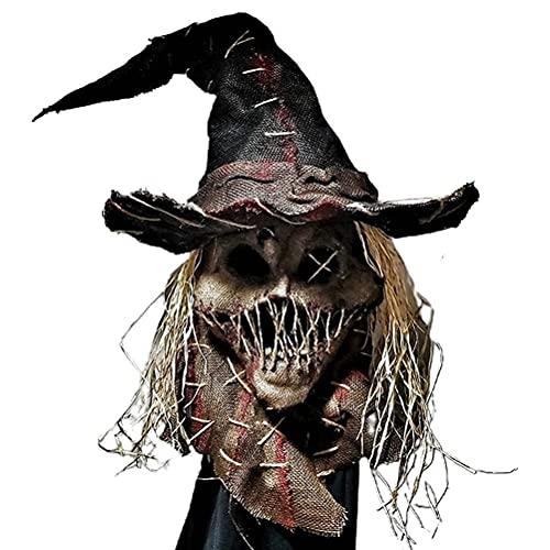 Espantapájaros espantapájaros, sombrero para Halloween, terrible cobertura facial, disfraz de Halloween