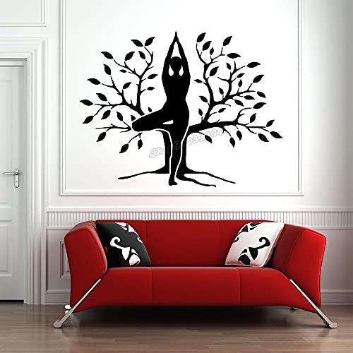 F FANTASY 'ART Vinilo adhesivo para pared de árbol de yoga, diseño de yoga y posición, 57 x 42 cm