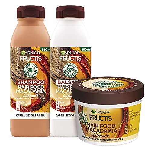 Garnier Fructis Hair Food Macadamia Lisciante, Kit con Shampoo, Balsamo e Maschera per Capelli Difficili da Lisciare, 98% di Ingredienti di Origine Naturale, Senza Siliconi
