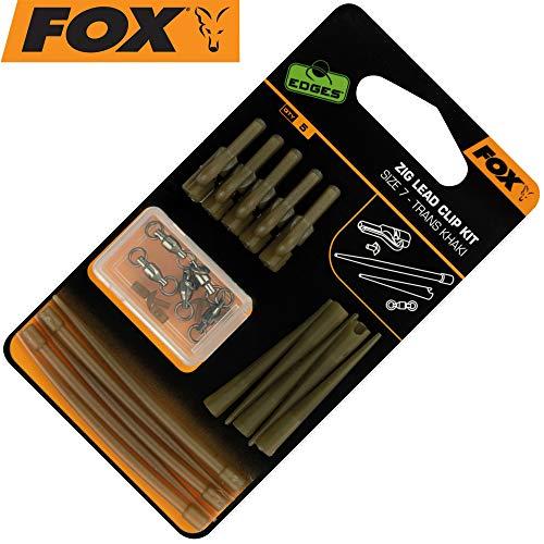 Fox Zig Lead Clip Kit - 5 Clips + Zubehör für Karpfenbleie, Angelclips zur Montage von Angelbleien zum Karpfenangeln, Bleiclips
