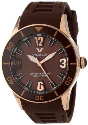 Viceroy 42108-45 Reloj unisex grande con caja dorada y correa de caucho marrón
