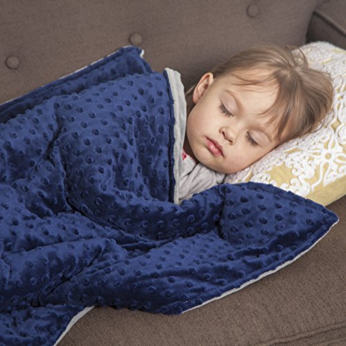 """Roore 5 lb Children's (for 50lb individual) 36""""x48"""" Navy Blue and Gray Weighted Blanket with Dotted Minkey Cover. Fall Asleep Faster Perfect for kids with Anxiety OCD Stress ADHD Autism"""
