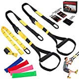 WHH Bodyweight Resistance Training Straps, Complete Home Gym Fitness Trainer kit for Full-Body Workout, Included Door Anchor, Extension Strap, 16 Week Program, Fitness Guide and 4 Bands Yellow