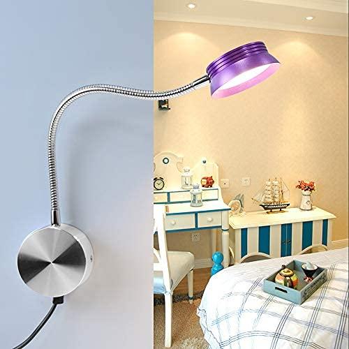 SFSGH Lámpara de Pared LED para Interior, Cuello de Cisne, Luces de Lectura Flexibles, lámpara de Pared de Aluminio con Enchufe e Interruptor USB, Aplique de Pared Moderno para dormitori