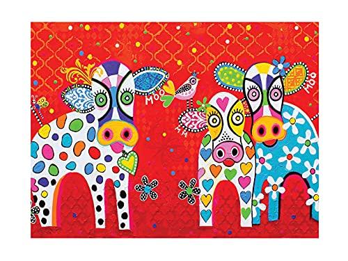 Maxwell & Williams - Strofinaccio con motivo 'Happy Moo Day', 100% cotone, colore: rosso, 50 x 70 cm