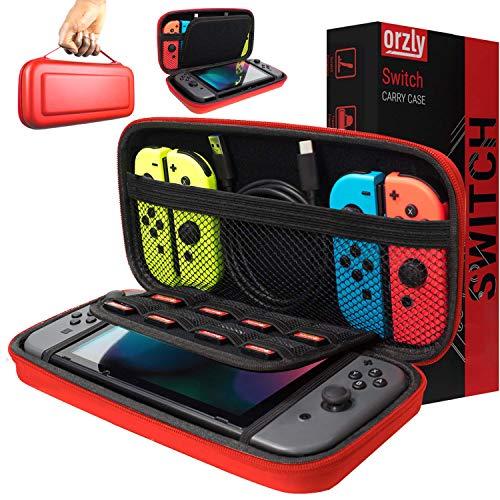 Custodia da viaggio Orzly per Nintendo Switch - Guscio protettivo portatile per Console e Accessori del Nintendo Switch - ROSSO