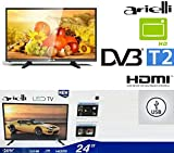 TV 24 Pollici Led HD ARIELLI 24' LED-24H19T2 Hdmi USB DIGITALE TERRESTRE T2 DVB-T2 modello 2019