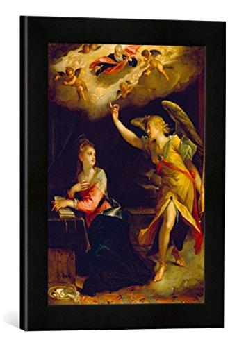 Gerahmtes Bild von Hans von Aachen Verkündigung Mariae, Kunstdruck im hochwertigen handgefertigten Bilder-Rahmen, 30x40 cm, Schwarz matt