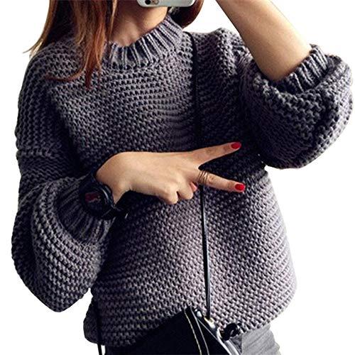 Vertvie Dames rolkraagpullover trui trui lover gebreide trui effen grof gebreid trui losse fit warme lange mouwen rolkraag herfst winter sweater gebreide trui