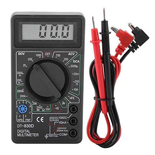 DT830D Multímetro digital Mini medidas de rango automático Ohmímetro Amperímetro Instrumento de prueba con pantalla LCD de 49 * 16 mm para pruebas de transistores de diodos