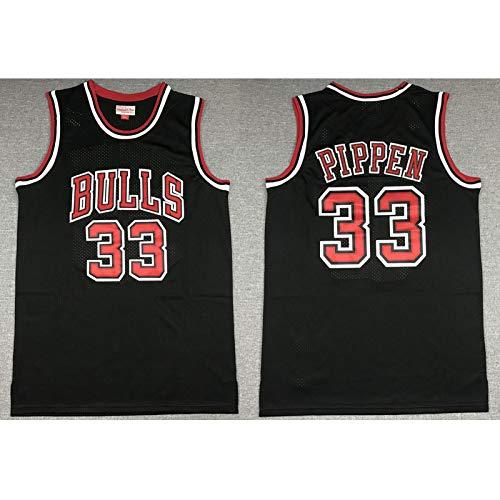 Jordan Pippen Rodman Champion Basketball Trikots Bulls Team Retro Bequeme Herren Sportbekleidung Cool Mesh Atmungsaktiv Fan Sportswear Gr. XL, Schwarz 33#
