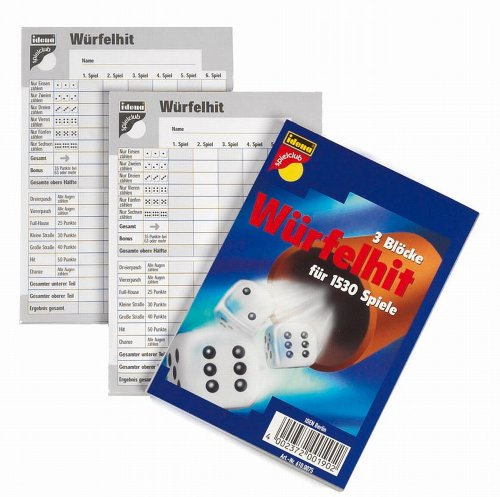 Idena 6100075 - Würfelhit, 3 Spielblöcke für 1530 Spiele, Größe ca. 10,5 x 15 cm, beliebter Spieleklassiker für die Wohnung, Garten und auf Reisen