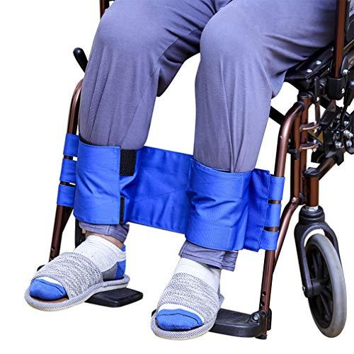 Dr.Lefran Sicherheitsgurt-Rückhaltegurte für Rollstuhlbeine, verstellbar verhindern vorbeugender Rutschfester Gurt, einfach und sicher, gebundenes Wadenband mit Anti-Drop-Verschluss,Blue