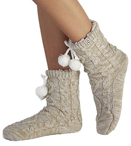 UGG Women's Pom Pom Fleece Lined Crew Sock, Cream, One Size