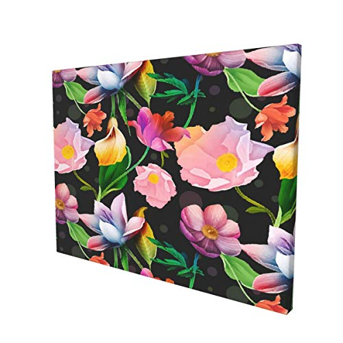 Bright Colorful Tropical Flowers Canvas Prints Wall Art Paintings Durable Bedroom Wall Decor Creative Poster Picture Artwork Fits for Office Bathroom Home Decoration 15.7x11.8in