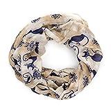 MANUMAR Loop-Schal für Damen | Hals-Tuch in braun blau mit Katzen Motiv als perfektes Herbst Winter Accessoire | Schlauchschal | Damen-Schal | Rundschal | Geschenkidee für Frauen und Mädchen