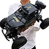 KRCT 4X4 Big Foot Coche teledirigido 2.4G RC Carro del Camino con Profesionales amortiguación de Vibraciones Sistemas, eléctrico Recargable Monster Auto Juguete (Color : Negro, tamaño : 3 baterías)