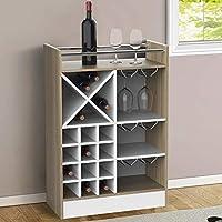 bakaji mobile angolo bar cantinetta bottiglie vino liquori struttura in legno cantina con piano superiore 20 posti portabottiglie e 3 ripiani porta calici rastrelliera in metallo (quercia)