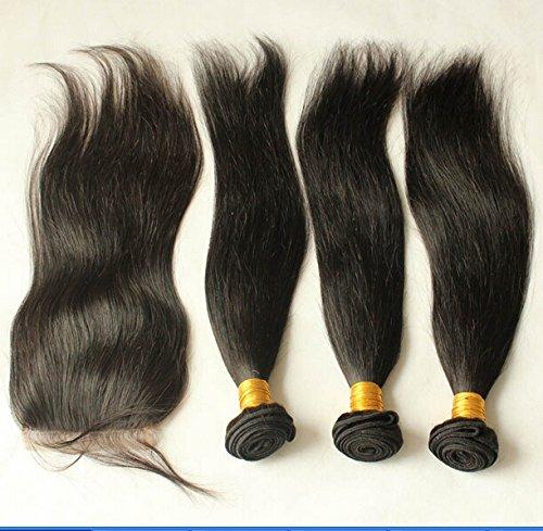 "Cheap 8A Free Part Lace Closure With Bundles Straight Brazilian Virgin Hair Bundle Deals 3Bundles And Closure Natural Color 12""closure+18""18""20""weft"