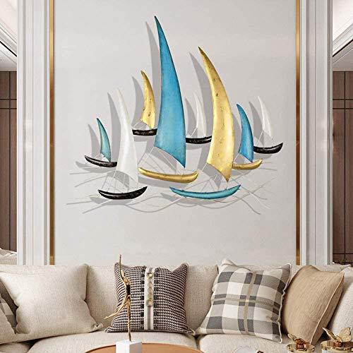LSY Metal Decoración Pared, Flota Retro Tridimensionales Velero Decoración Mural Metal Flota Estilo Minimalista Moderno para Hotel Dormitorio Sala Estar(85 * 80Cm)