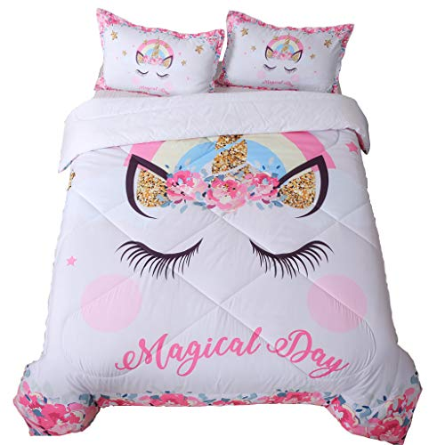SIRDO Golden Ears Unicorn Girls Comforter Set White Pink Bedding Sets with Two Pillow Shams 3D Printed Flowers Design Queen Size Soft Bedding Machine Washable All Seasons