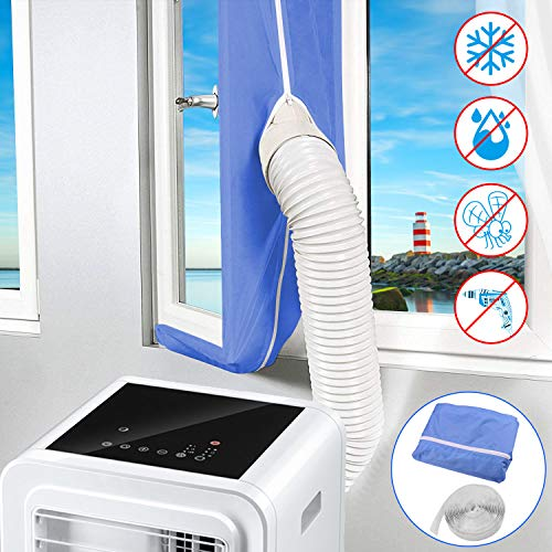 Yodeace Kit Ventana Aire Acondicionado Portatil, Air Conditioner Tumble Dryer Windows Seal Air Exchange Guards with Adhesive Fastener for Casement Crank Windows 118 inch Blue