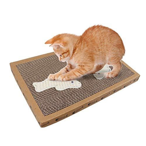 Nobleza - Rascador de cartón para Gatos. Alfombrilla con Catnip. (38.2 * 24.5 * 4) cm