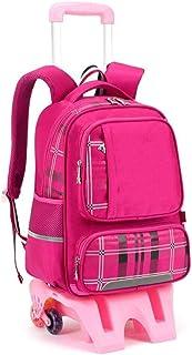 Yyqtsb Wheeled Backpack Student Bag Pulley Pull Rod Waterproof Three-Wheel Stair Travel Trolley Bag Roller Backpack