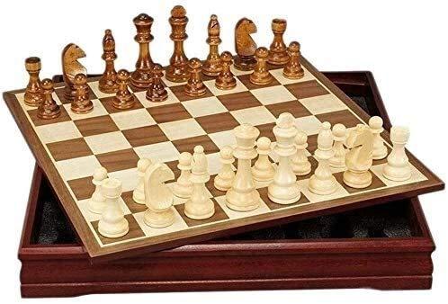 Conjuntos de ajedrez Conjunto de ajedrez para adultos, conjunto de ajedrez de madera Ajedrez Piezas Juego de mesa de ajedrez Colección Portátil Tablero Ajedrez de viaje (Tamaño: 12 pulgadas) yqaae