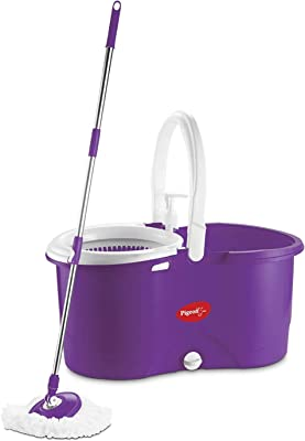 Pigeon Enjoy Spin Mop with 360 Degree Rotating PVC Magic Mop Set for Wet and Dry Floor/Wall (Lavender, 2 refills), large (12458B)