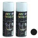 Acan Montoro - Pack de 2 Botes de Pintura en Spray Negro Satinado SA01 400 ml