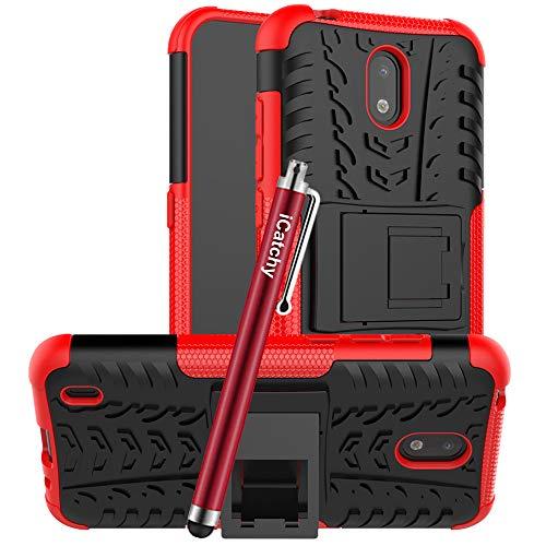 iCatchy Schutzhülle für Nokia 1.3, robust, robust, zweilagig, Hybrid-Hülle, stoßfest, kompatibel mit Nokia 1.3, Rot