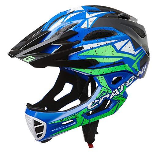 Cratoni C-Maniac Pro - Casco da bicicletta Downhill BMX Fullfacehm con mentoniera e mentoniera (nero-blu-verde, M-L (54-58 cm)