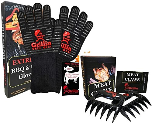 Grillin Chill Gear Meat Claws - Best Bear Claw Pulled Pork Meat Shredders in BBQ Grill Accessories +Extreme Heat Resistant Grill Gloves, Heavy Duty Aramid Fiber & Non Slip Silicone, Soft Cotton Liner