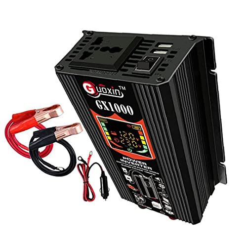 Inversor de potencia, 500W DC 12V a AC 110V Adaptador Inversor de enchufe de AC 110V Convertidor de energía de onda sinusoidal pura