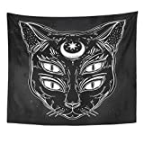 Black Cat Head Moon and Four Eyes Emvency Tapestry