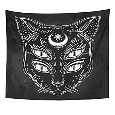 Emvency Tapestry Black Cat Head Portrait Moon and Four Eyes Eyed Home Decor Wall Hanging for Living Room Bedroom Dorm 50x60 inches